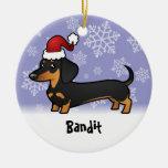 Dachshund del navidad (añada su nombre de mascotas ornamentos de navidad