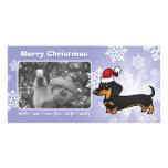Dachshund del navidad (capa lisa) tarjetas fotograficas