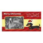Dachshund del navidad (capa lisa) tarjeta fotográfica