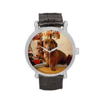 Dachshund del navidad (versión 1) reloj de mano