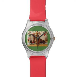Dachshund del navidad (versión 1) relojes de pulsera