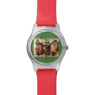 Dachshund del navidad (versión 2) reloj de mano
