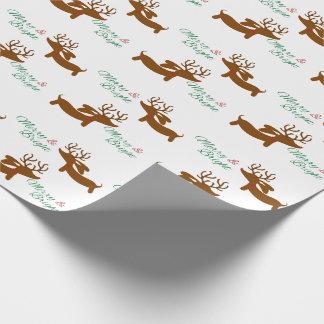 Dachshund del reno feliz y brillante papel de regalo