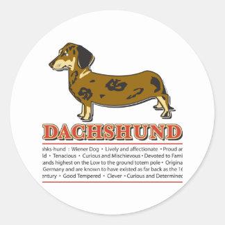 Dachshund Dictionary Classic Round Sticker