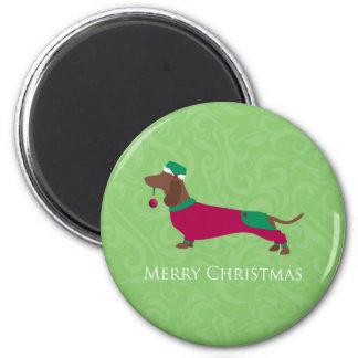 Dachshund - diseño de las Felices Navidad Imanes De Nevera