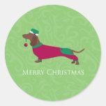 Dachshund - diseño de las Felices Navidad Etiquetas Redondas