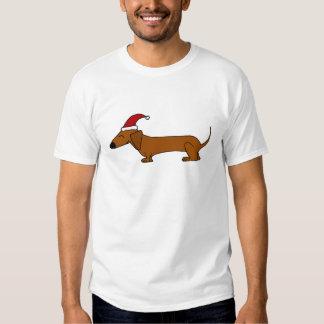 Dachshund divertido en dibujo animado del navidad poleras
