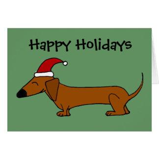 Dachshund divertido en dibujo animado del navidad tarjeta de felicitación