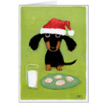 Dachshund divertido Santa con leche y galletas Tarjeta