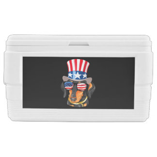 Dachshund Dog American Flag Hat Glasses Chest Cooler