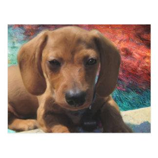 Dachshund - Dog Art - Painting - Pet Portrait Postcard