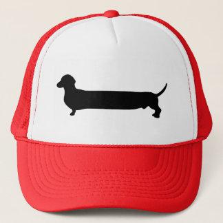 Dachshund dog black silhouette cartoon funny doxie trucker hat