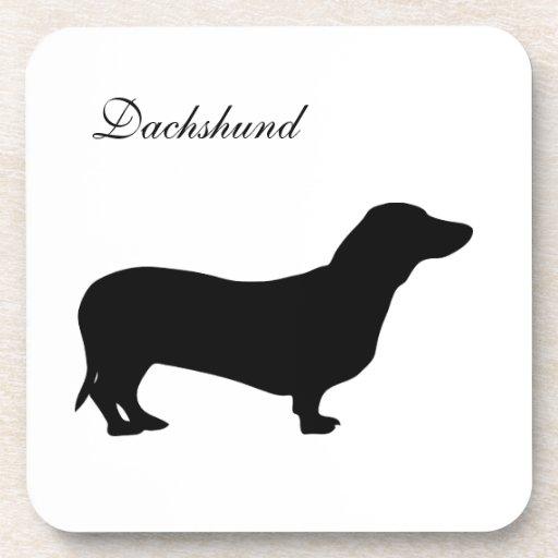 Dachshund dog black silhouette coaster