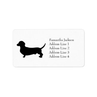 Dachshund dog black silhouette cute custom label