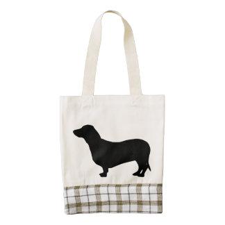 Dachshund dog black silhouette cute doxie tote