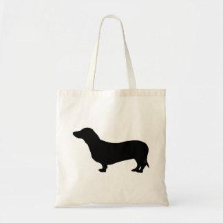 Dachshund dog black silhouette cute tote bag