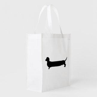 Dachshund dog black silhouette funny long back reusable grocery bag