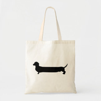 Dachshund dog black silhouette funny long back tote bag