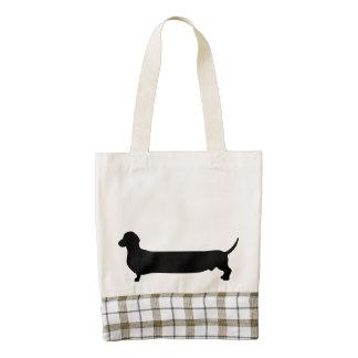 Dachshund dog black silhouette funny long back zazzle HEART tote bag