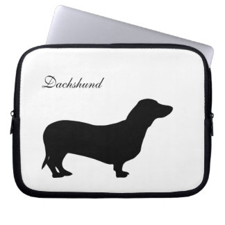 Dachshund dog black silhouette laptop bag