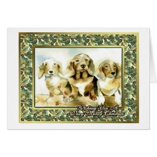 Dachshund Dog Blank Christmas Card
