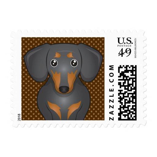 Dachshund Dog Cartoon Paws Postage Stamp