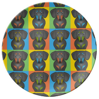 Dachshund Dog Cartoon Pop-Art Porcelain Plate