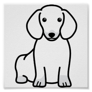 Dachshund Dog Cartoon Poster