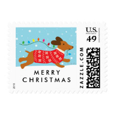 Dachshund Dog Christmas Winter Holiday Postage at Zazzle