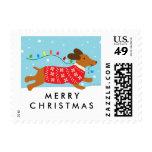 Dachshund Dog Christmas Winter Holiday Stamp