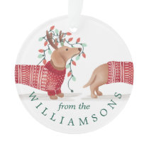 Dachshund Dog Cozy Knitted Christmas Sweater Photo Ornament