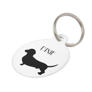 Dachshund dog custom dog name, phone number pet name tag