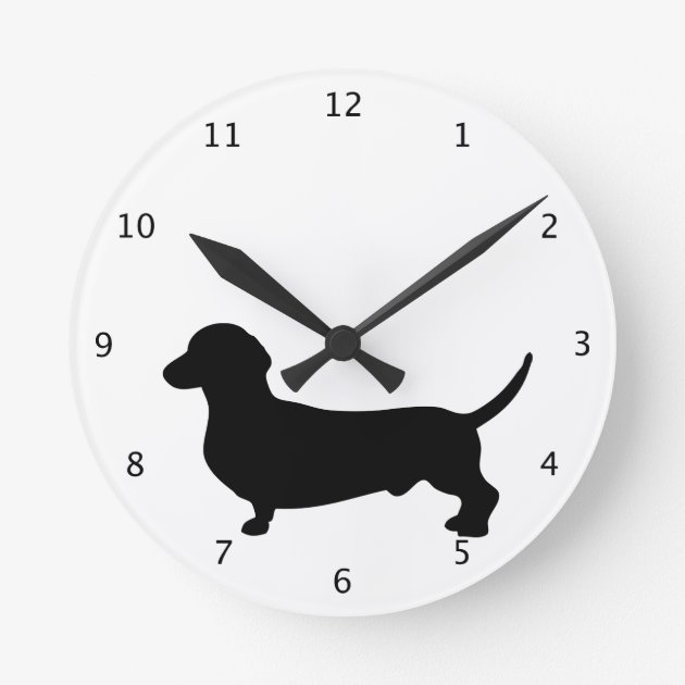 Dachshund Dog Silhouette 01 Wall Clock