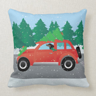 Dachshund Dog Driving Car - Christmas Tree on Top Pillow