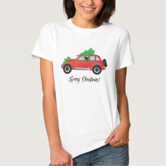 Dachshund Dog Driving Car - Christmas Tree on Top Tshirts