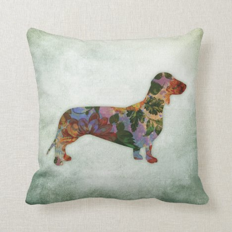 Dachshund Dog Floral On Green Throw Pillow
