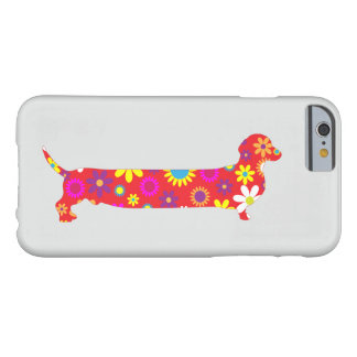 Dachshund dog floral retro funny cartoon wiener barely there iPhone 6 case