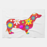 Dachshund dog funk retro floral flowers colorful towels