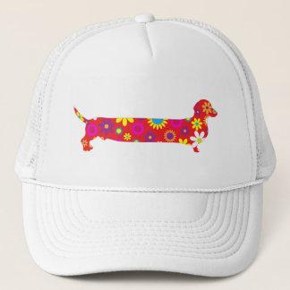 Dachshund dog funky retro floral cartoon fun doxie trucker hat