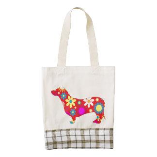 Dachshund dog funky retro floral cute doxie tote