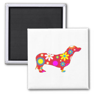 Dachshund dog funky retro floral flowers colorful 2 inch square magnet