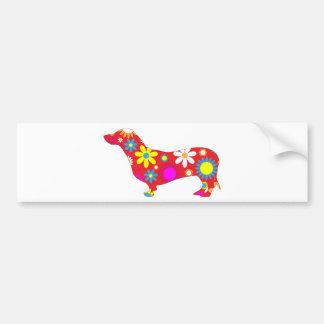 Dachshund dog funky retro floral flowers colorful bumper sticker