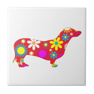Dachshund dog funky retro floral flowers colorful ceramic tile