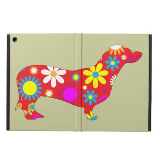 Dachshund dog funky retro floral flowers colorful iPad air covers