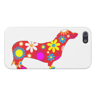 Dachshund dog funky retro floral flowers colorful covers for iPhone 5