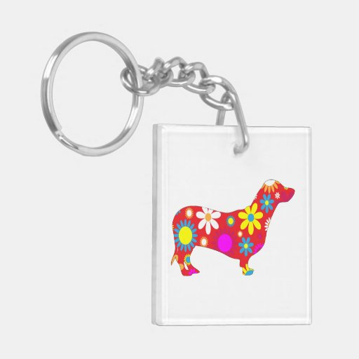 Dachshund dog funky retro floral flowers colorful acrylic key chains