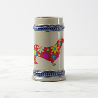 Dachshund dog funky retro floral flowers colorful 18 oz beer stein