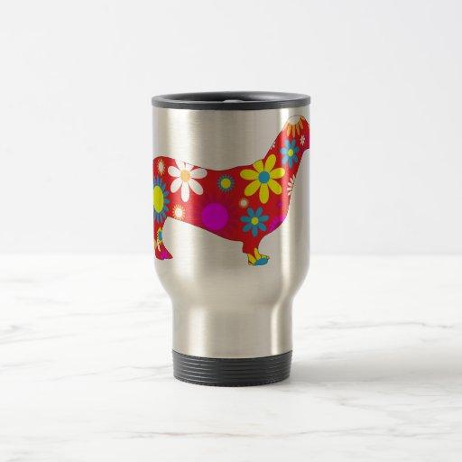 Dachshund dog funky retro floral flowers colorful coffee mug zazzle - Funky espresso cups ...