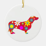 Dachshund dog funky retro floral flowers colorful Double-Sided ceramic round christmas ornament