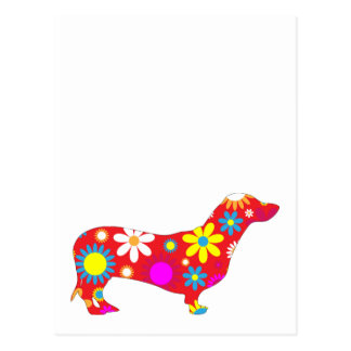 Dachshund dog funky retro floral flowers colorful post cards